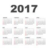 Calendario semplice 2017 Fotografie Stock Libere da Diritti