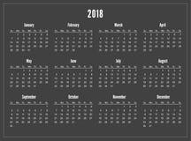 Calendario semplice della tasca 2018 anni su fondo nero royalty illustrazione gratis