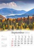 Calendario 2014. Septiembre. Foto de archivo libre de regalías