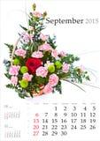 Calendario 2015 septiembre Foto de archivo