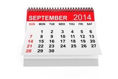 Calendario septiembre de 2014 Foto de archivo libre de regalías