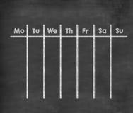 Calendario settimanale per la settimana completa fotografia stock