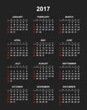 Calendario simple 2017 Imagen de archivo libre de regalías