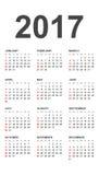 Calendario simple 2017 Fotografía de archivo