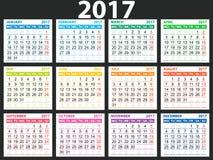 Calendario simple 2017 Imágenes de archivo libres de regalías