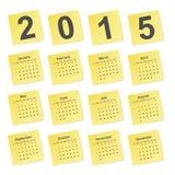 Calendario simple 2015 años en notas amarillas del palillo Fotografía de archivo libre de regalías