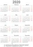 Calendario simple 2020 con los días festivos para los E.E.U.U. ilustración del vector