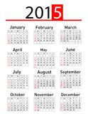 Calendario simple de 2015 años Fotografía de archivo