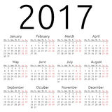 Calendario simple 2017 del vector Foto de archivo