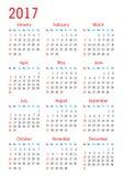 Calendario simple 2017 del vector Fotos de archivo