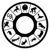 Calendario simple del zodiaco con el nuevo año de 2015 ovejas Imágenes de archivo libres de regalías