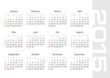 Calendario simple para el vector de 2015 años Foto de archivo