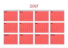 Calendario simple por 2017 años en lengua francesa Imagenes de archivo