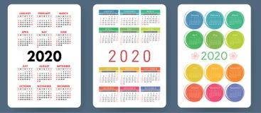 Calendario 2019 Sistema colorido Comienzo de la semana el domingo Rejilla básica ilustración del vector