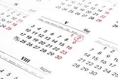 Calendario sopra priorità bassa bianca Fotografia Stock Libera da Diritti