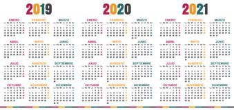 Calendario spagnolo 2019-2021 royalty illustrazione gratis