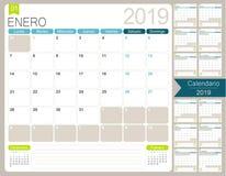 Calendario spagnolo 2019 illustrazione di stock