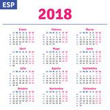 Calendario spagnolo 2018 royalty illustrazione gratis