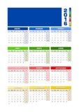 Calendario 2016 spagnolo, colorato stagioni per l'emisfero nord Illustrazione di Stock