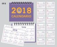 Calendario spagnolo dei bambini per l'anno 2018, 2019 dello scrittorio o della parete Fotografia Stock Libera da Diritti