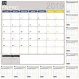 Calendario spagnolo 2019 di pianificazione illustrazione di stock