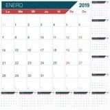 Calendario spagnolo per l'anno 2019 illustrazione vettoriale