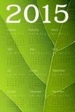 Calendario 2015 su struttura verde della foglia Vettore Fotografia Stock