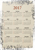 Calendario sucio 2017 del vector americano Imagen de archivo libre de regalías