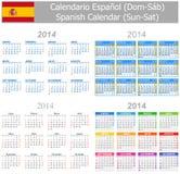 Calendario Sun-Sat de la mezcla de 2014 españoles Fotos de archivo libres de regalías