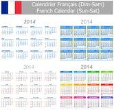 Calendario Sun-Sat de la mezcla de 2014 franceses Imágenes de archivo libres de regalías