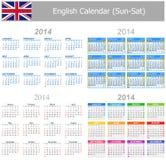 Calendario Sun-Sat de la mezcla de 2014 ingleses Imágenes de archivo libres de regalías