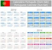 Calendario Sun-Sat de la mezcla de 2014 portugueses Fotos de archivo libres de regalías