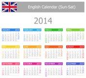 Calendario Sun-Sat del tipo 1 de 2014 ingleses Foto de archivo