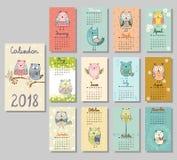 Calendario sveglio 2018 fotografia stock libera da diritti