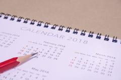 Calendario tarjeta del día de San Valentín ` s día del 14 de febrero de 2018 Foto de archivo