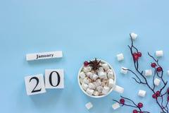 Calendario tazza del 20 gennaio di cacao, delle caramelle gommosa e molle e delle bacche del ramo immagine stock