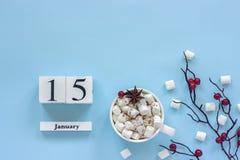 Calendario tazza del 15 gennaio di cacao, delle caramelle gommosa e molle e delle bacche del ramo fotografie stock