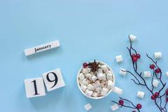 Calendario tazza del 19 gennaio di cacao, delle caramelle gommosa e molle e delle bacche del ramo immagine stock