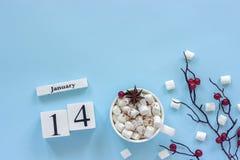 Calendario tazza del 14 gennaio di cacao, delle caramelle gommosa e molle e delle bacche del ramo immagini stock