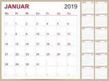 Calendario tedesco 2019 illustrazione vettoriale
