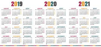 Calendario tedesco 2019-2021 illustrazione di stock