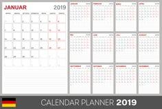 Calendario tedesco 2019 royalty illustrazione gratis