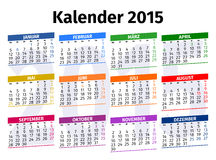 Calendario tedesco 2015 Fotografia Stock