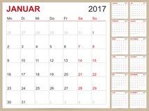 Calendario tedesco 2017 Illustrazione di Stock