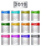 Calendario tedesco 2019 con gli autoadesivi royalty illustrazione gratis
