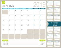 Calendario tedesco per l'anno 2019 illustrazione vettoriale
