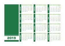 Calendario tedesco 2019 verdi royalty illustrazione gratis