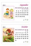 Calendario tenero 2011 - settembre ed ottobre Fotografia Stock Libera da Diritti
