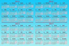Calendario usual por 2014 - 2017 años Fotos de archivo