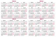 Calendario usuale per 2014 - 2017 anni Fotografie Stock